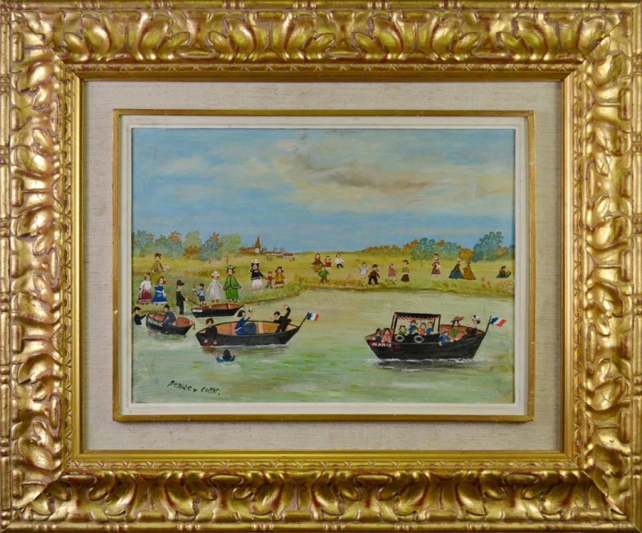 COLLET Denise barques sur rivière
