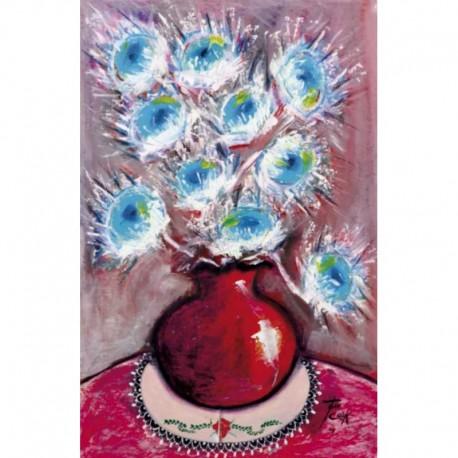 COOK Juan fleurs bleues vase rouge