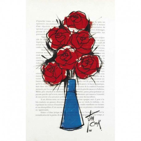 COOK Juan roses vase bleu fond journal