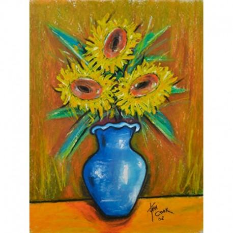 COOK Juan tournesols vase bleu