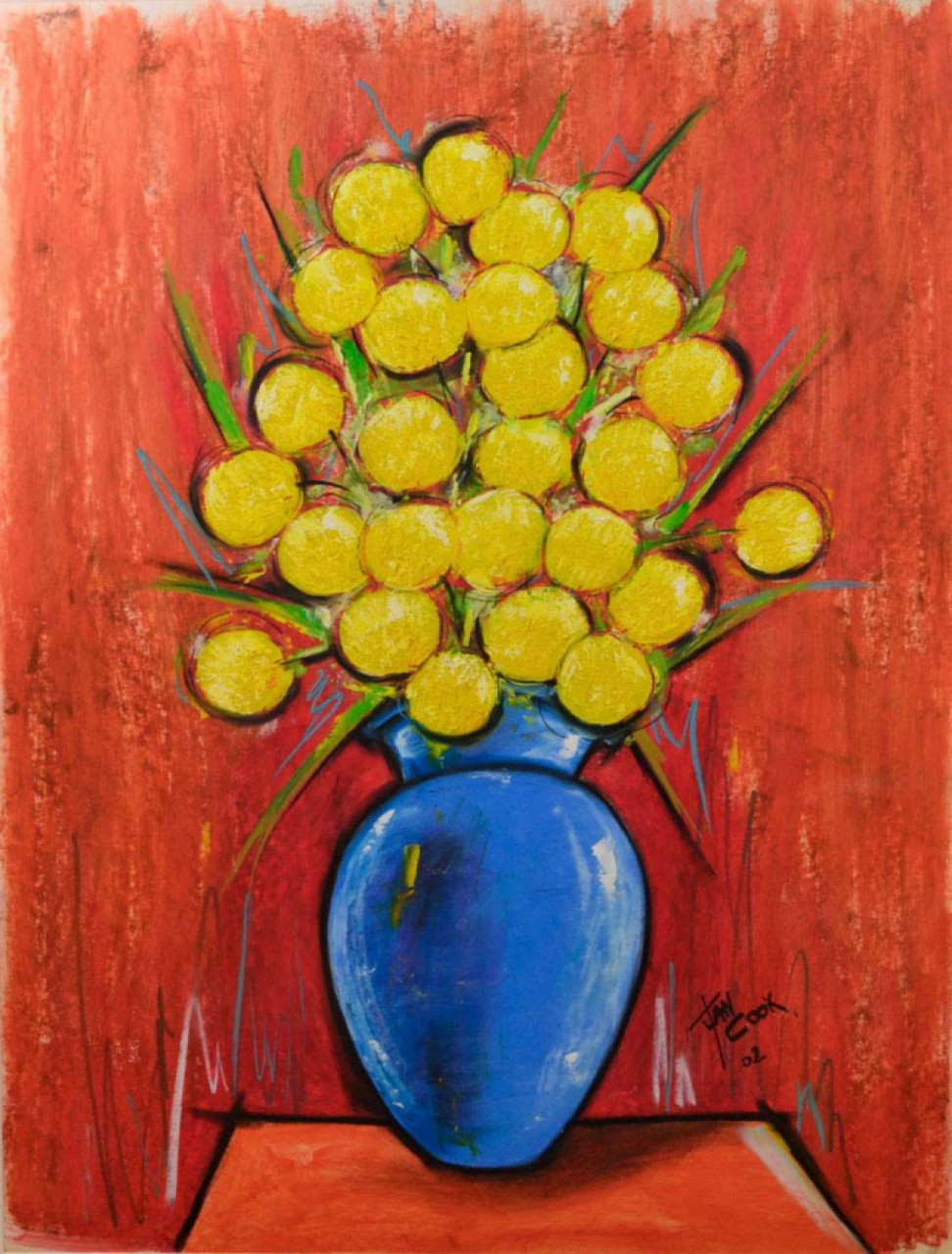 COOK Juan fleurs jaunes vase bleu