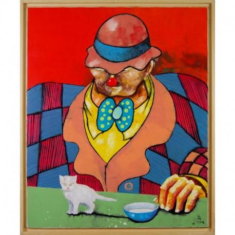 COOK Juan clown à table chapeau rouge