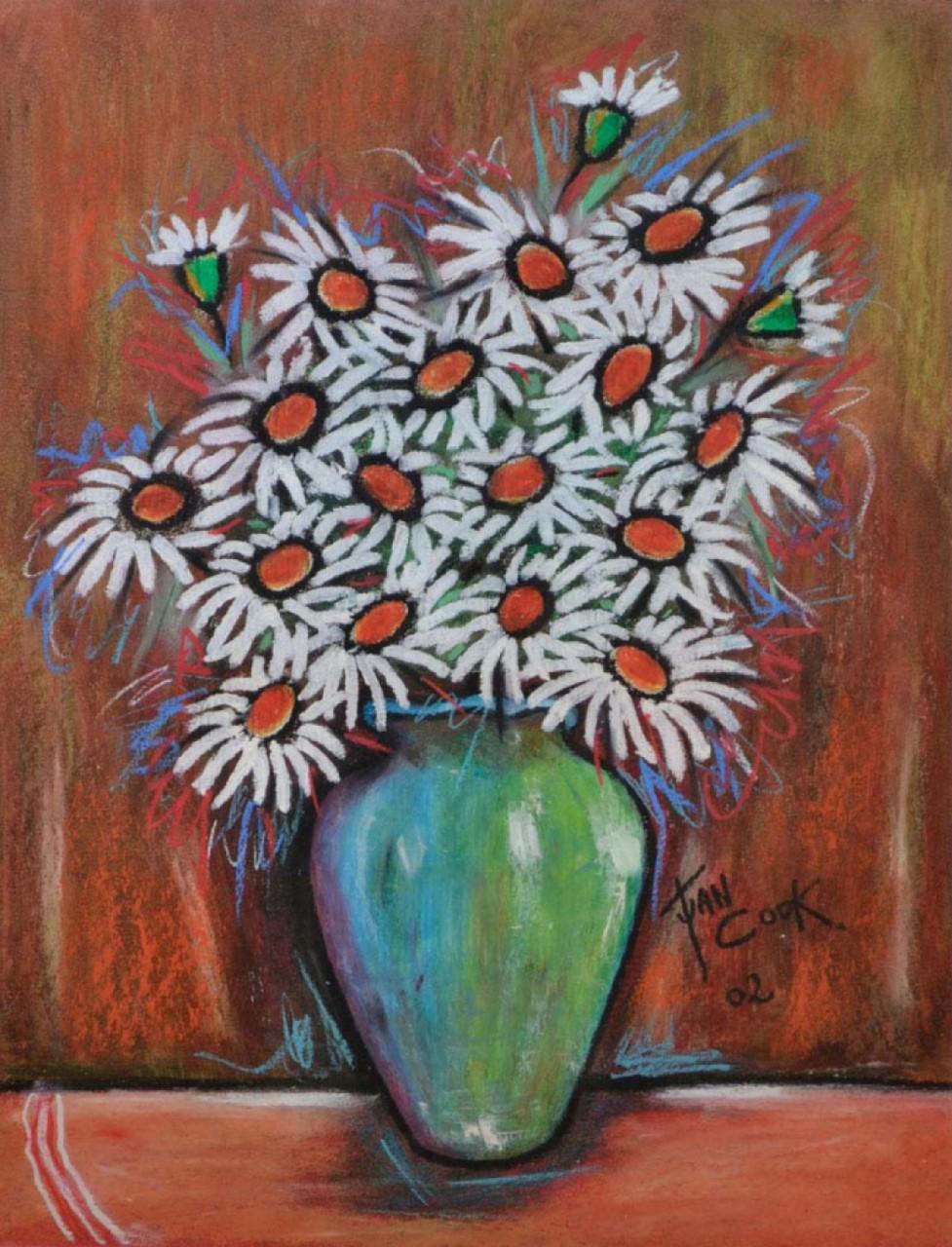 COOK Juan vase vert de fleurs