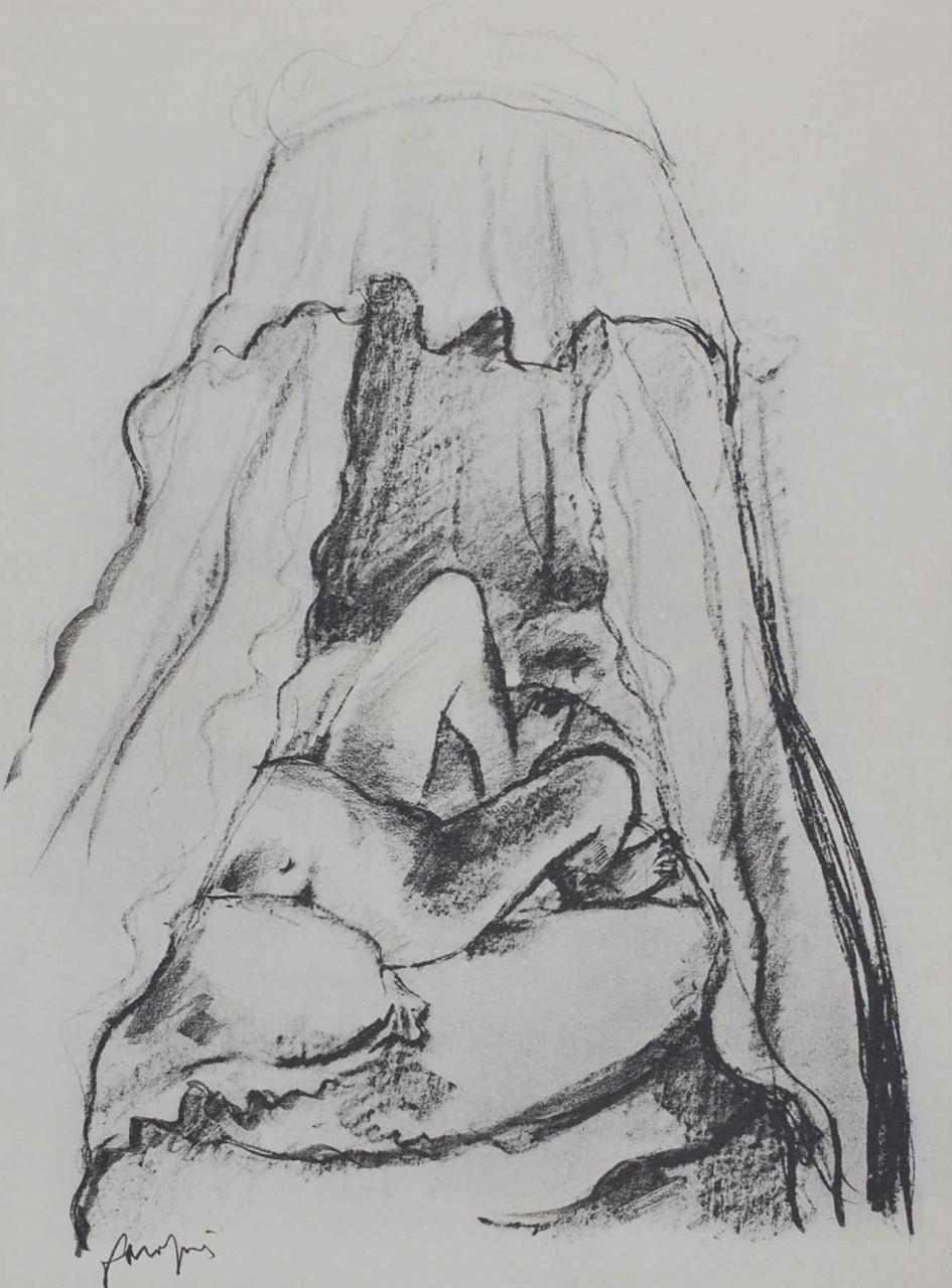 DAPRAI Jean nue lit à baldaquins