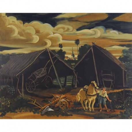 DERAIN André fermier avec son cheval