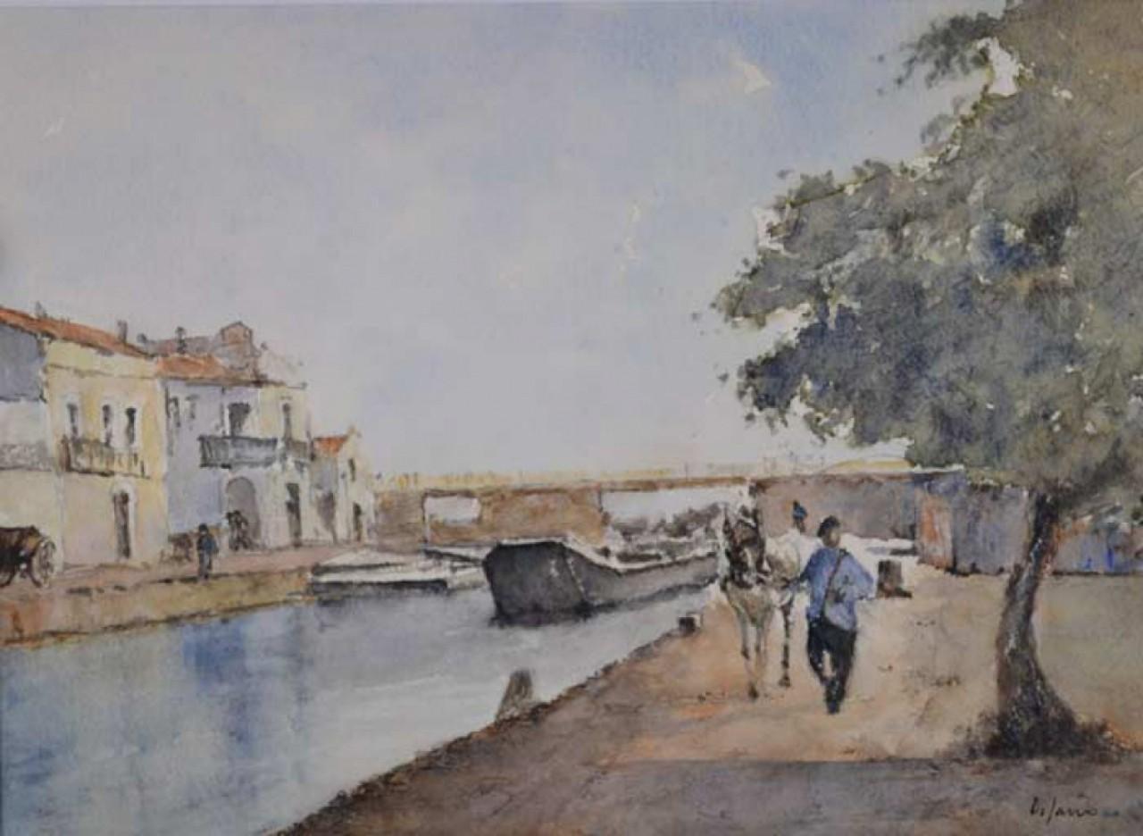DI SARRO Jacques homme au cheval au bord du canal