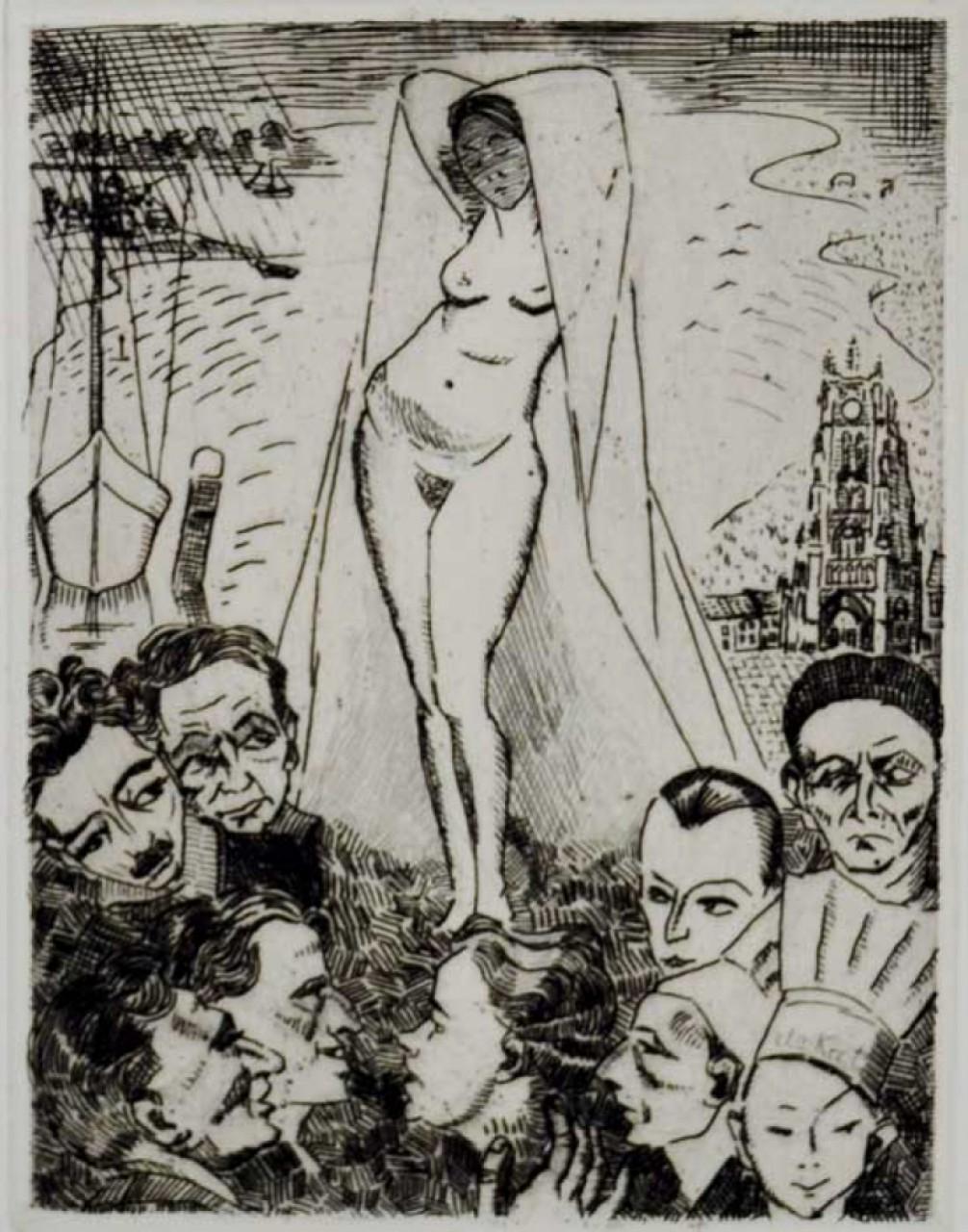 femme nue devant des hommes
