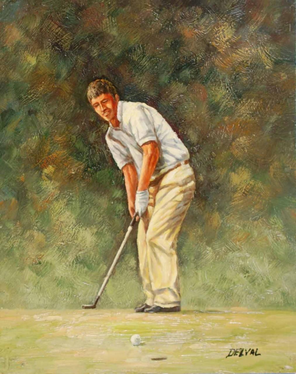 golfeur proche du trou