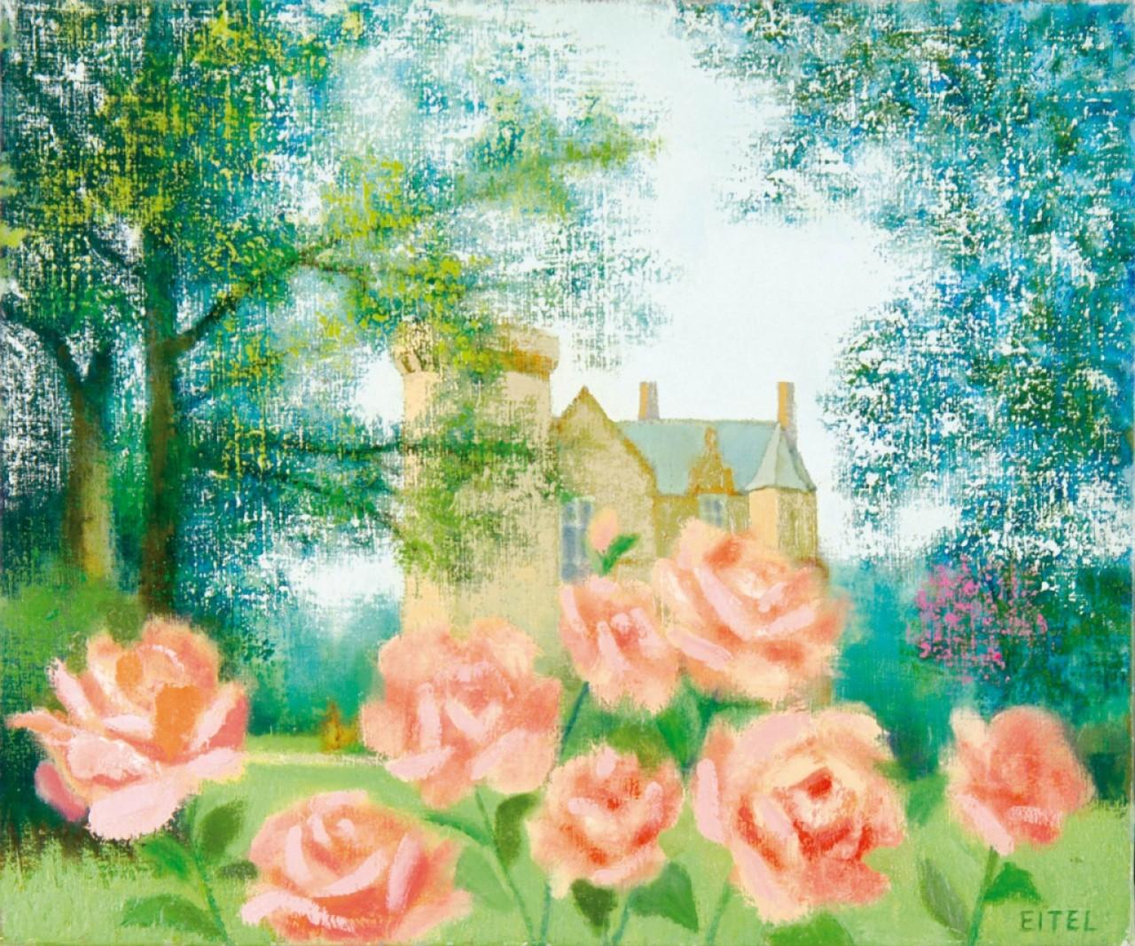 EITEL Jacques roses dans le jardin du château