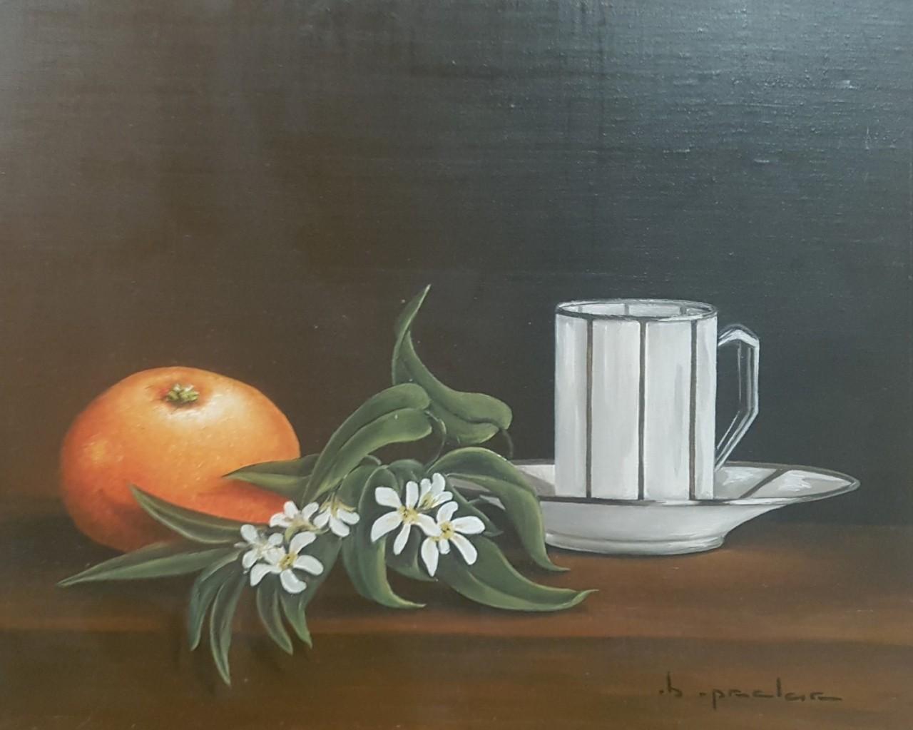 MALLET Edouard orange et tasse blanche