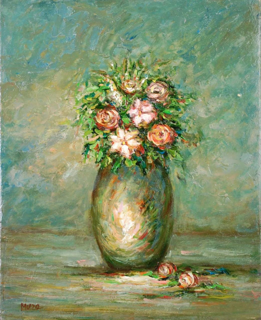MUZO cinq fleurs dans leur vase