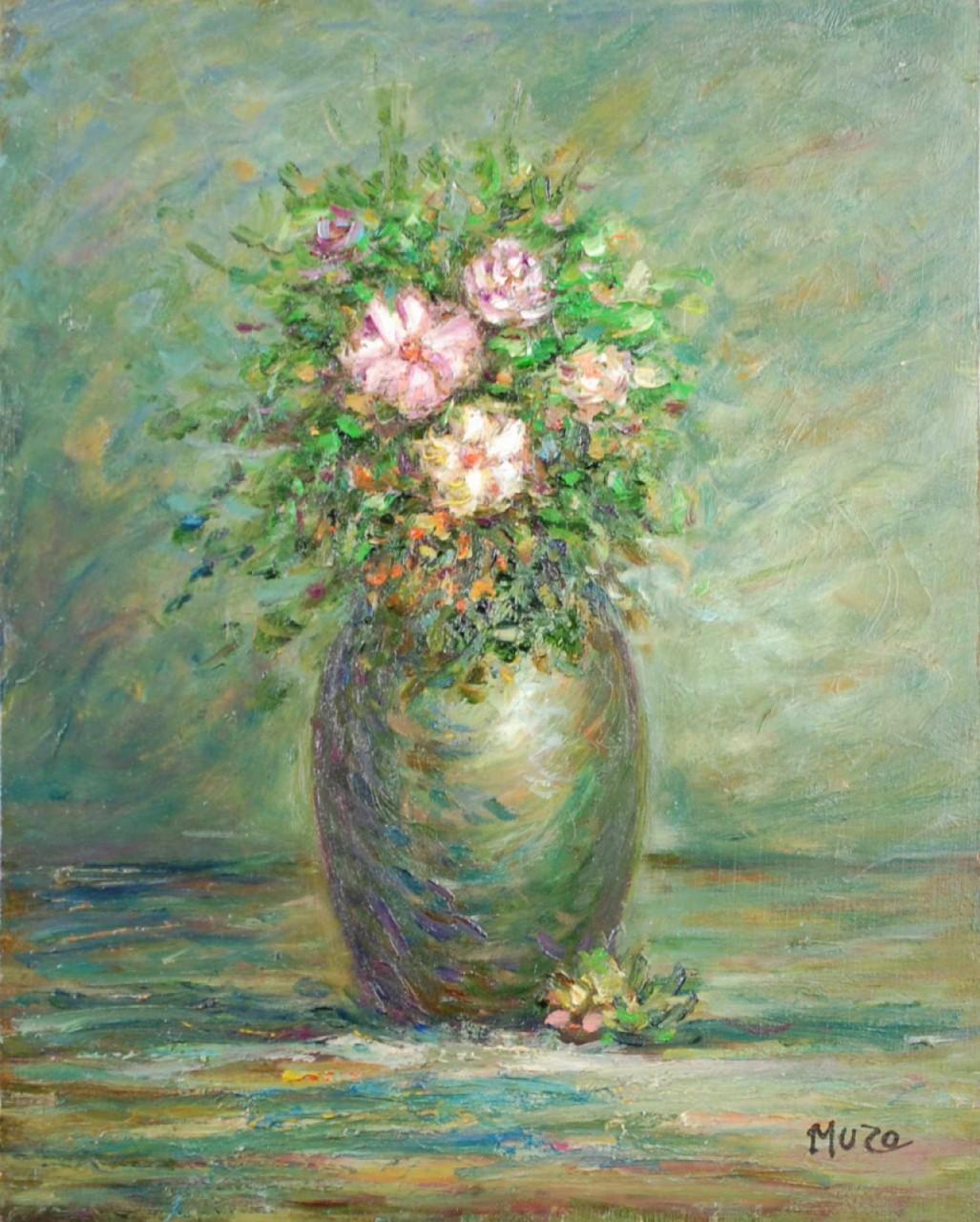 MUZO vase et fleurs roses