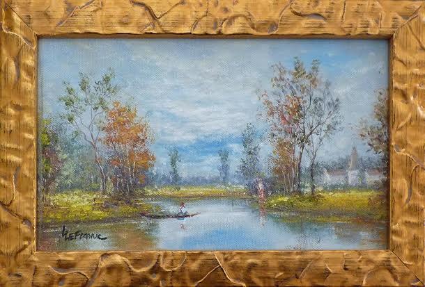 LEFRANC Louis paysage au cours d'eau