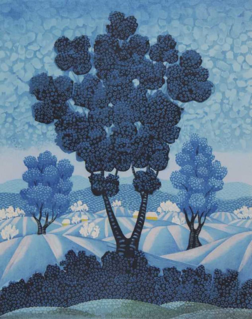 Bahunek Autun arbres bleues symétriques