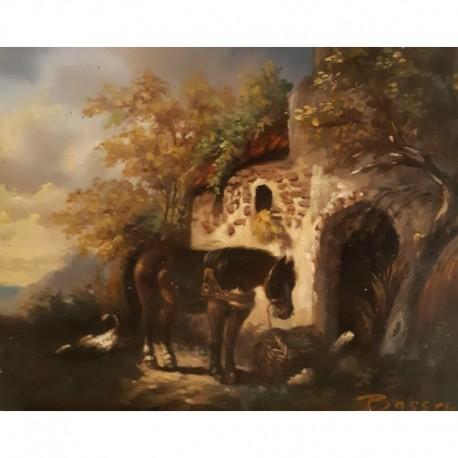 BASSEZ Walter un cheval noir devant une maison
