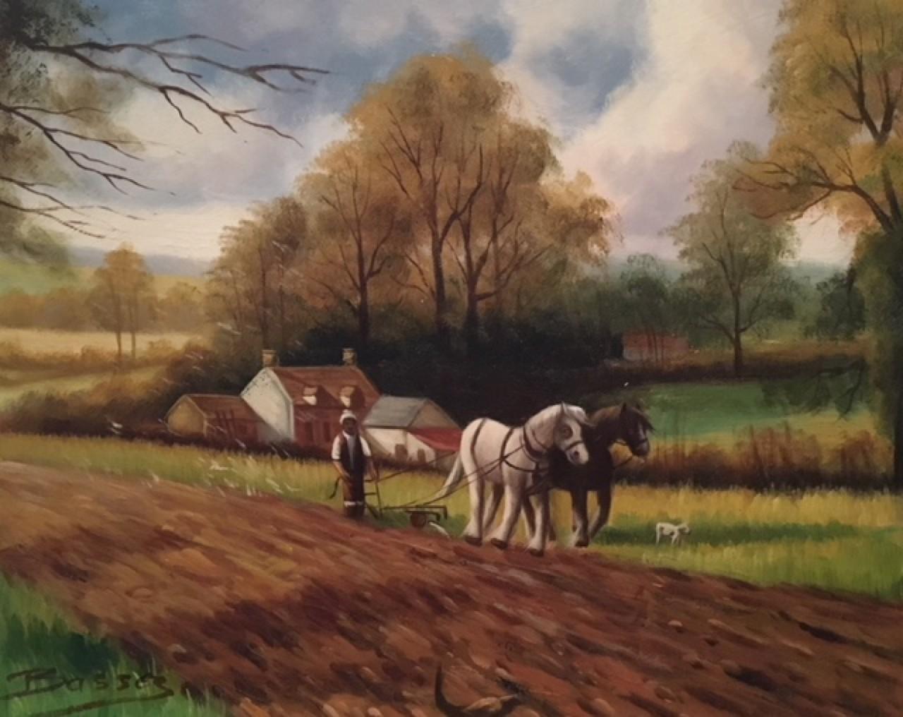 BASSEZ Walter Agriculteur avec chevaux dans un champ