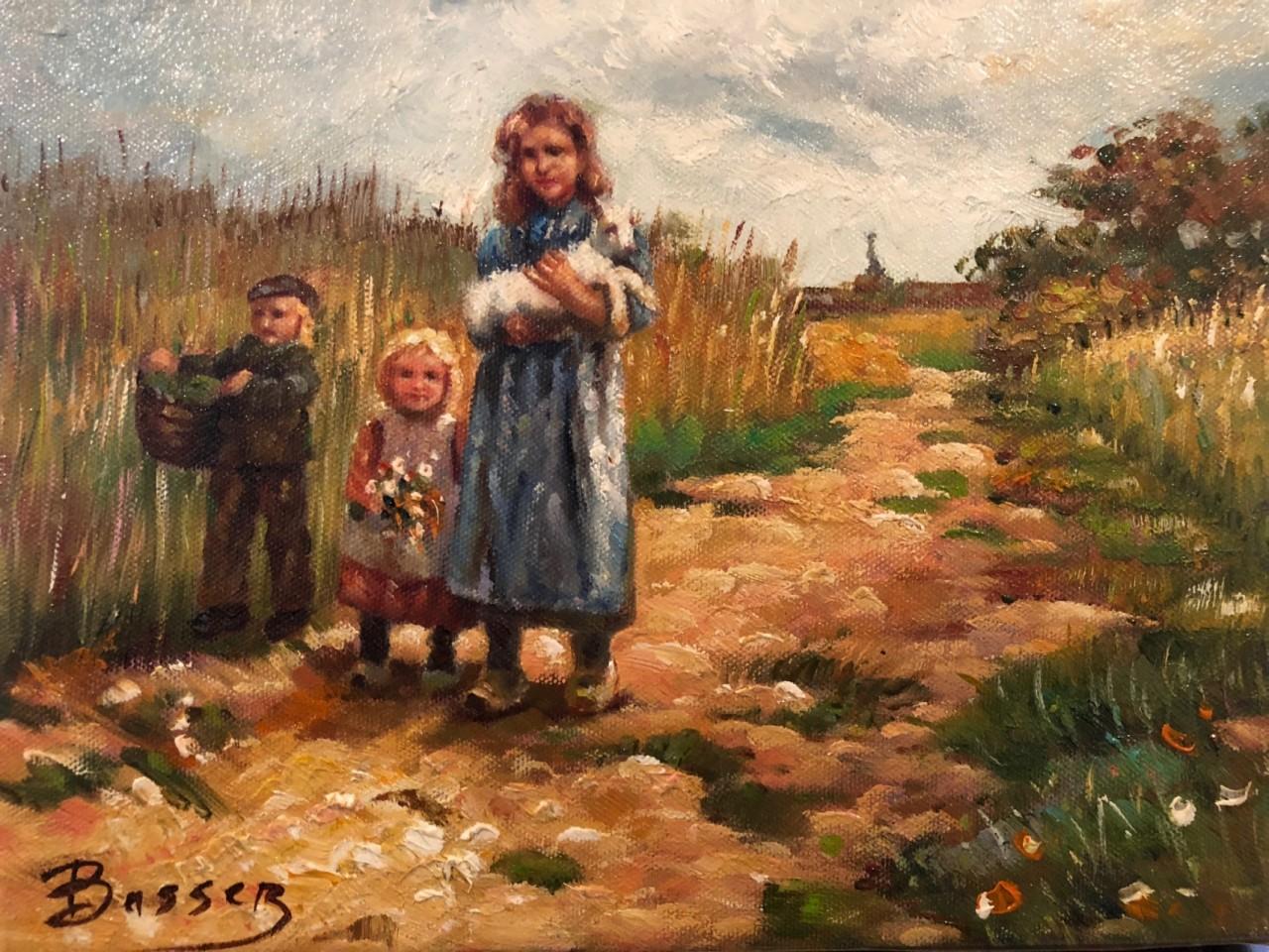 BASSEZ Walter enfants dans un champ