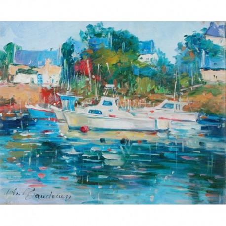 BAUDOUIN Henri Bateaux sur un fleuve