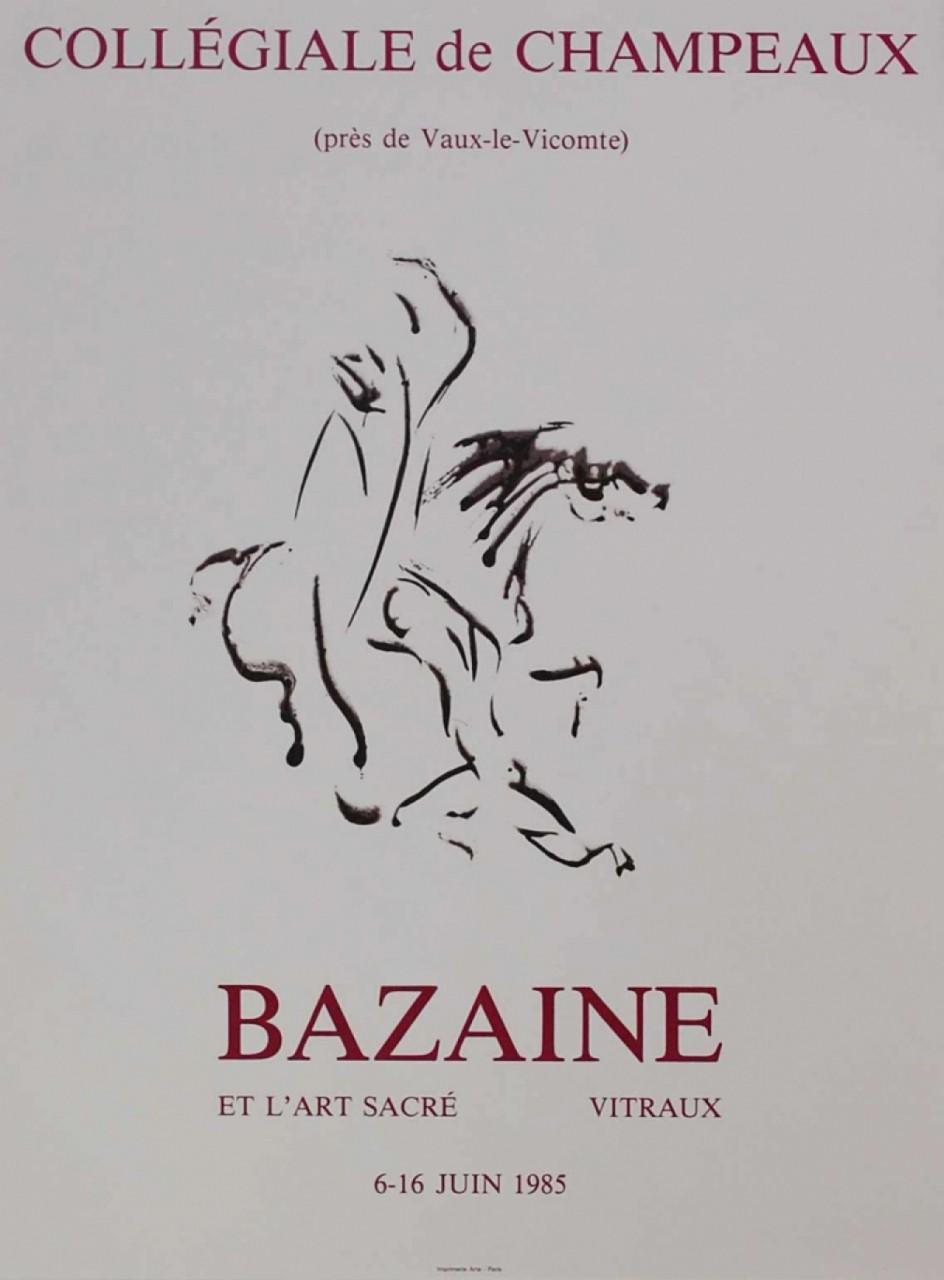 BAZAINE Jean affiche avec un cheval