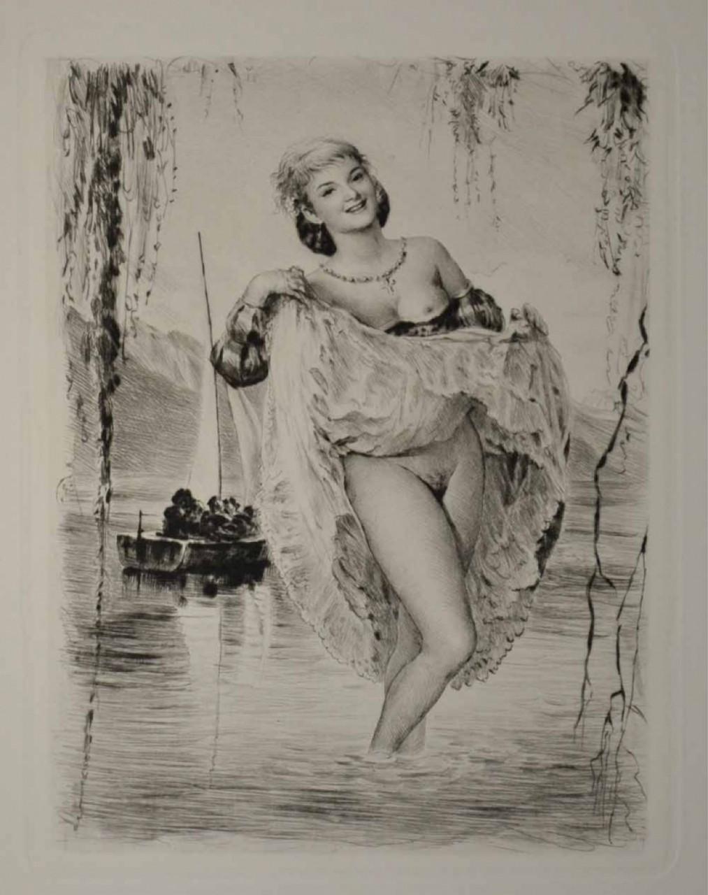 BECAT Pierre Emile femme nue soulevant sa robe