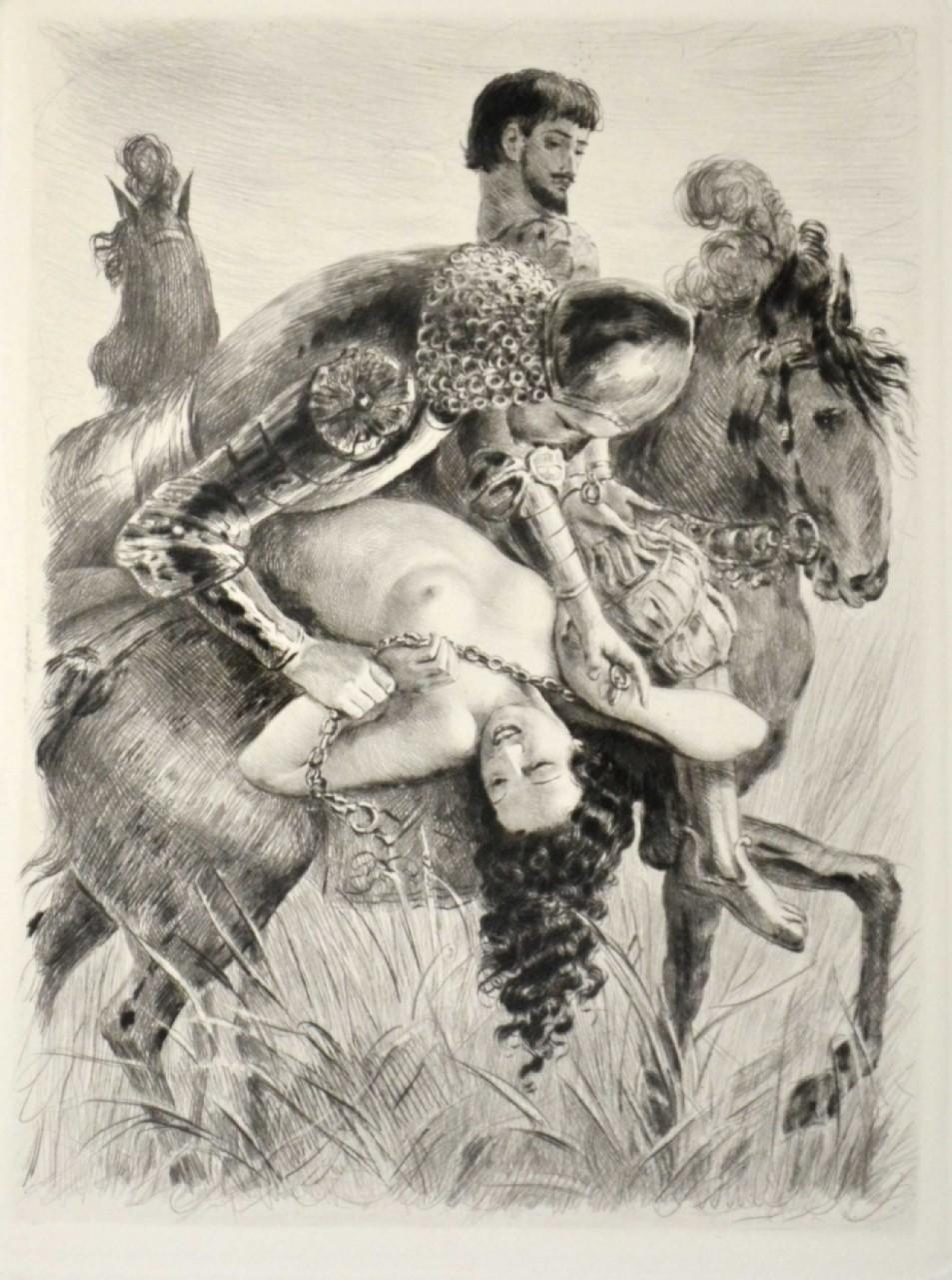 BECAT Pierre Emile femme nue enlevée par des chevaliers
