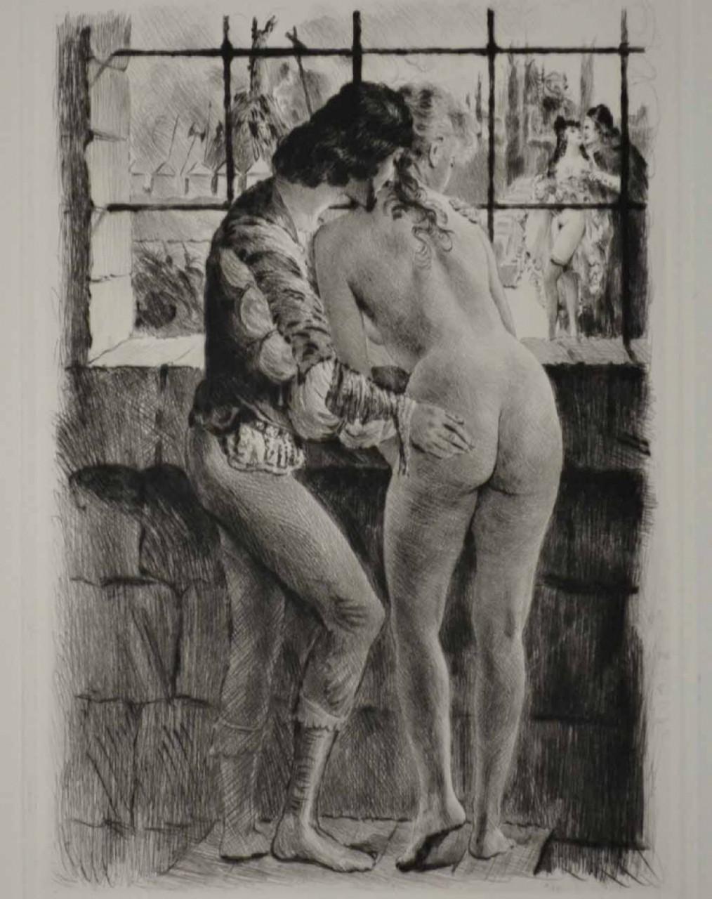 BECAT Pierre Emile couple devant fenêtre
