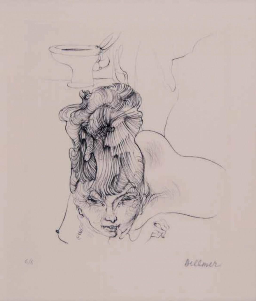 BELLMER Hans femme à la cigarette dans salle de bain