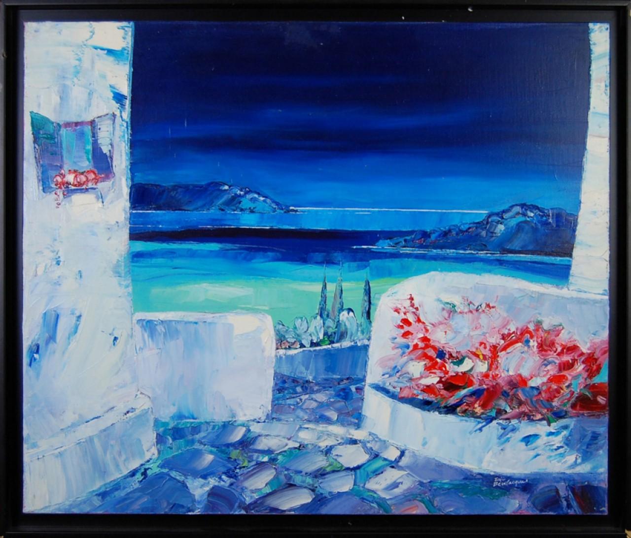 BEVILACQUA Eric terrasse fleuri en bord de mer