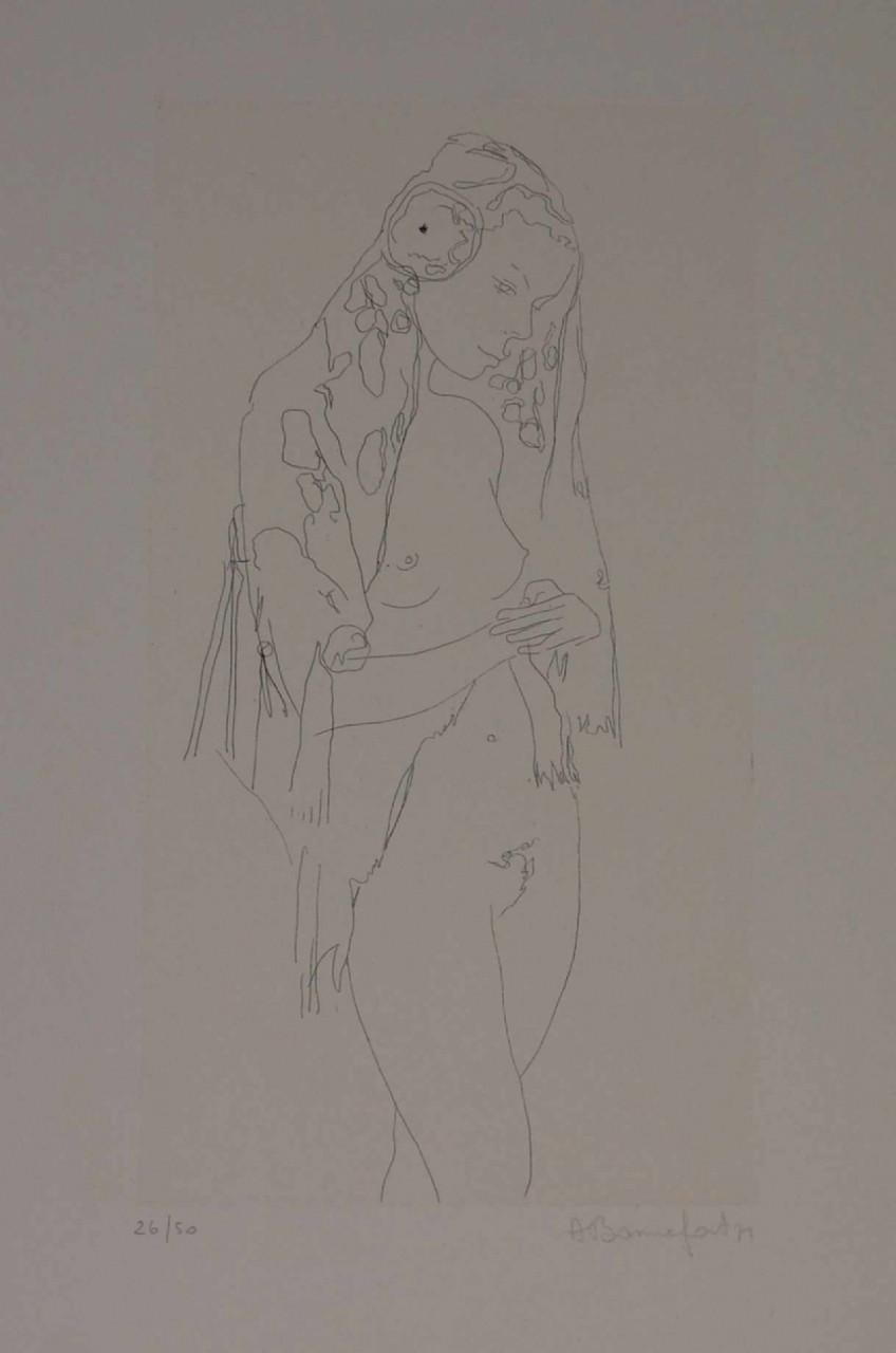BONNEFOIT Alain femme nue au voile fleuri