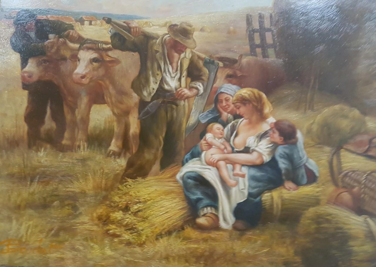 BOUCHET Fernand famille avec nouveau né au champ