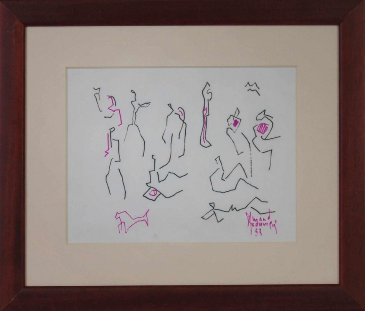 BOUVIER Armand dessins au trait roses et noirs