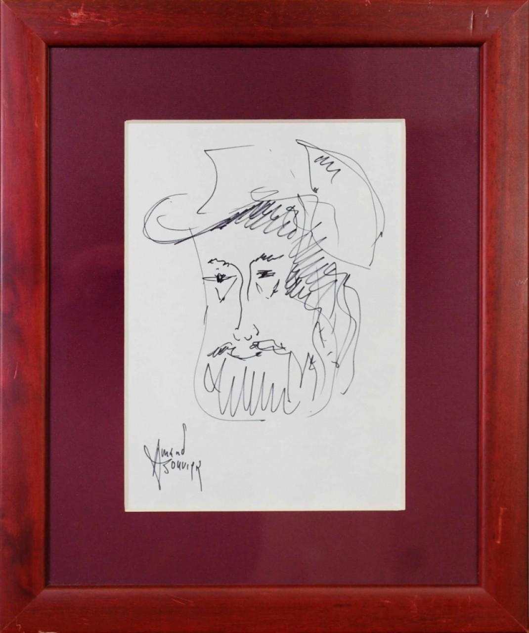 BOUVIER Amand visage d'homme barbu avec un chapeau
