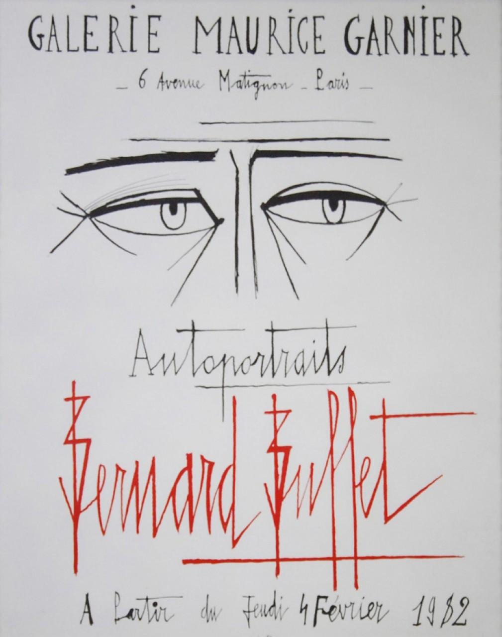 BUFFET Bernard affiche homme ridé galerie Maurice Garnier