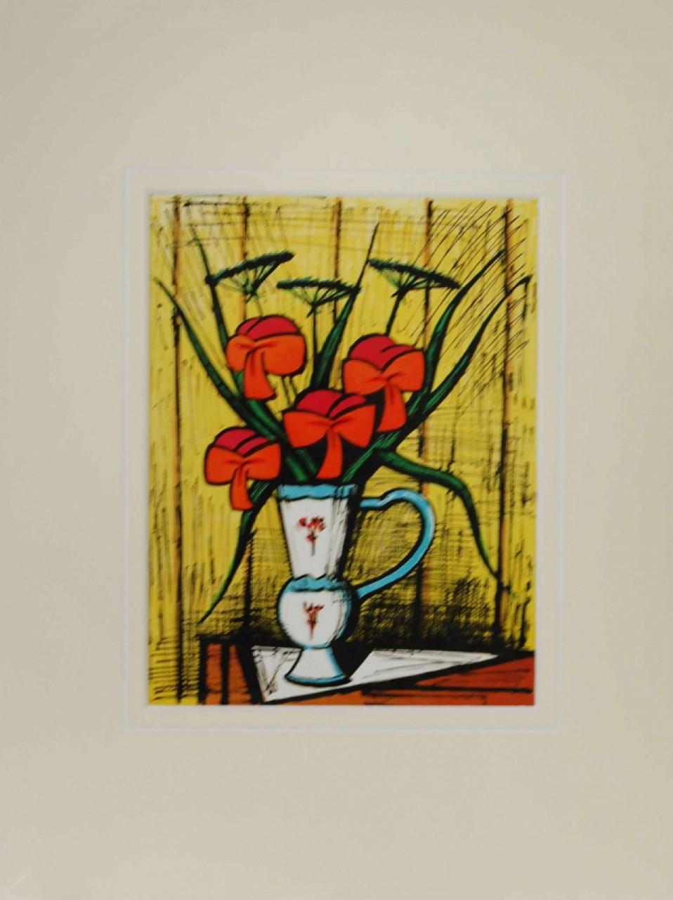 BUFFET Bernard vase fleurs coquelicots