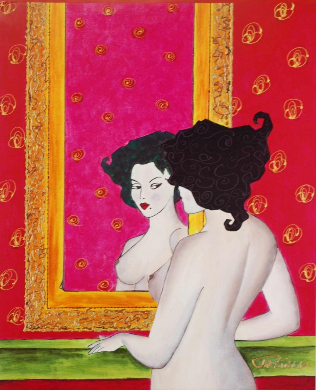 CATIERRA femme brune nue devant miroir