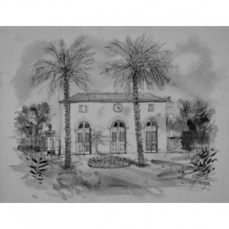 CIRY Michel palmiers devant large maison